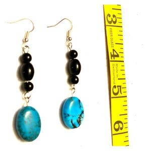 Turquoise beaded pierced earrings
